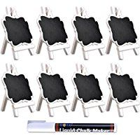 UCEC Mini Chalkboard with White Wooden Easel,Suit for Marker & Chalk,Perfect for Wedding Party and Daily Home Decoration-Pack of 8