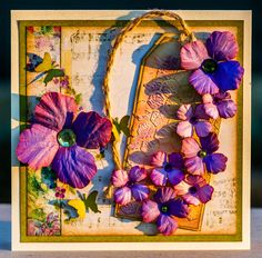 Card with purple flowers