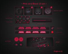 Pink and Black UI set