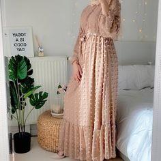Boho Long Sleeve Pompom Maxi Dress_3_Featured Women's Ethnic Fashion, Muslim Fashion, European American, Muslim Dress, Khaki Dress, Islamic Clothing, African Dresses For Women, Fall Dresses, Dresses With Sleeves