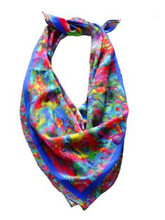 Multi colour square silk scarf by Colludewithbells on Etsy,