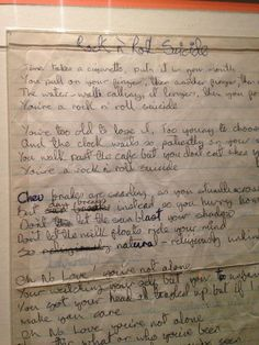 "madeforarealworld: "" David Bowie's handwritten lyrics for Rock n Roll Suicide. """