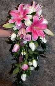 Image result for cascading pink stargazer lily and rose bouquet