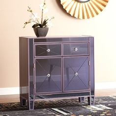 Southern Enterprises Mirage Colored Mirrored Accent Cabinet in Purple - OC9467