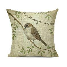 Retro Vintage Bird with Branches Home Decor Throw Pillow ...