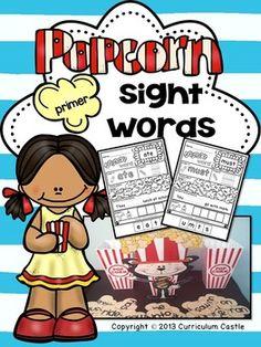 Kindergarten Primer Sight Words: Popcorn Word Printables & Game!
