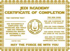 free jedi certificate google search - Jedi Knight Certificate Template