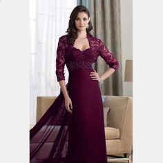 d465a2410a5a 2016 Tričkové rukávy Čipka Elegantní fialová červená Dlouhé večerní šaty s  bundou Beaded A-line Matka nevěsty Šaty