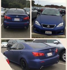 I saw this in the parking lot at my school and fell in lust.  Matte blue Lexus. I believe its a Lexus is205? What a beauty!