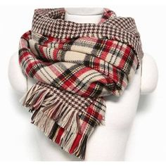 Yoins Beige Checked Print Double Sided Scarf featuring polyvore, women's fashion, accessories, scarves, plaid, шарфы, black, tartan plaid scarves, oblong scarves, plaid shawl, tartan scarves and long shawl