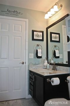 blue-grey bathroom love the crown molding love the wall color 8949 724 8 Ashley Pearson Splish Splash in the Bath Andrea Golden-rasmussen Gorgeous color!!