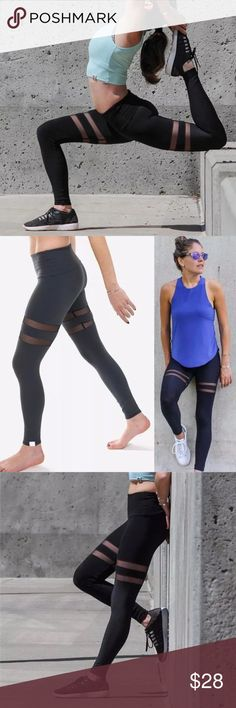 Spandex leggings Spandex leggings with 2 stripe of mesh on the thighs. Comes in L/xL it will fit medium to xl. Pants Leggings