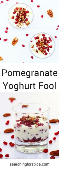 Pomegranate yogurt fool recipe. This simple dessert of yoghurt, pomegranate seeds, honey and pecan nuts is perfect as a healthy dessert option. #pomegranateseeds #yoghurt #dessert #breakfast #pecans #healthydessert