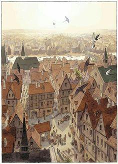 19 Ideas Medieval Concept Art Cities Design Reference For 2019 Fantasy City, Fantasy Places, Fantasy World, Animation Background, Art Background, Art Environnemental, Rpg Map, Illustration Art, Illustrations