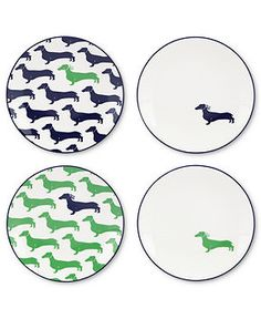 kate spade new york Dinnerware, Set of 4 Wickford Dachshund Tidbit Plates - Casual Dinnerware - Dining & Entertaining - Macy's
