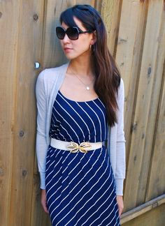 Blue Striped Dress and Grey Cardigan