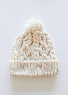 Cream Knit Pom Hat via lilyandviolet.com