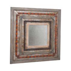"""Natural Rustic Square Tin Antiqued Mirror - 46""""x46"""""""