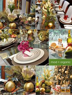 MODERN + RUSTIC chic Christmas table decorating ideas! ..from table centerpieces to place settings with favors to wine and cheese table.