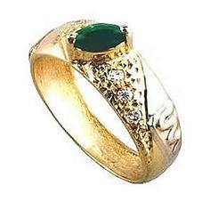Anel de formatura letras   em ouro 18k 750 1 pedra verde semi preciosa 6 zirconia branca.