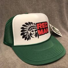 e818e187020 Red Man Chewing Tobacco Trucker Hat Vintage Snapback Cap Green Indian 2255
