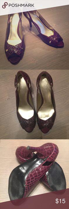 "Nine West Bright Girl heels Leather faux crocodile peep toe. 3"" heel Nine West Shoes Heels"