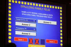"A Family Feud game was offered during the family's ""Meet and Greet"" on the first day of the reunion."