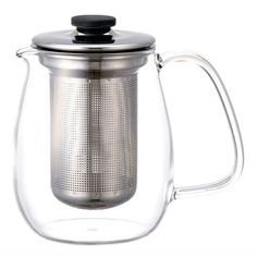 Kinto Large Unitea Steel Teapot Set: This Large Stainless Steel Unitea Teapot Set is made up of parts from Kinto's Unitea range. It includes a 720ml capacity heat-resistant glass jug with a stainless steel strainer and lid. Supplied ready to use, additional complementary tea ware can be purchased separately from the Unitea range, such as a Unitea Glass Cup and Saucer to enjoy your freshly brewed tea!