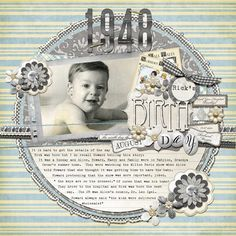 1948 Birthday...interesting circle design, heritage colors and journaling.