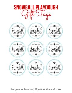 Free Printable Snowball Playdough Gift Tags