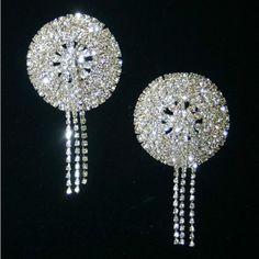 Crystal Rhinestone Dangling Fringe Silver Set Pasties Nipple Covers Burlesque | eBay