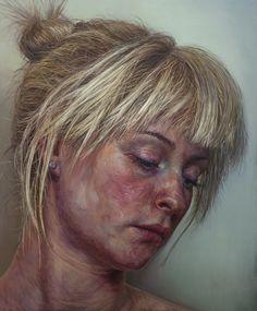 Artist: Ian Cumberland (b. oil on linen {figurative art blonde female… Oil Portrait, Female Portrait, Portrait Paintings, Blond, Muse, Texture Painting, Figure Painting, Woman Face, Artist Art