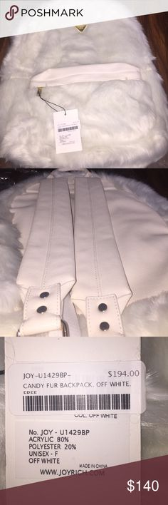 Brand New White Joy Rich Faux Fur Travel Backpack Brand New with tags. Faux fur. Soft smooth material.I will be accepting g offers as well. Let me know if you have any questions or want to see additional pics.. Joyrich Bags Backpacks