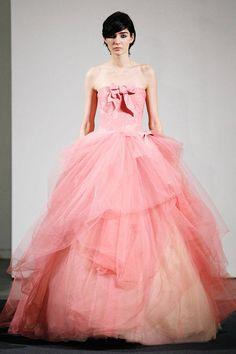 Vera Wang All Pink Wedding dresses 2014 Bridal Collection Pink Wedding Gowns, Wedding Dresses 2014, Pink Gowns, Colored Wedding Dresses, Tulle Wedding, Dress Wedding, Bridal Gown, Pink Dresses, Prom Dress