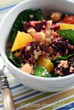 Quinoa Salad with Roasted Beets, Chick Peas and Orange from Karina Allrich (Gluten Free Goddess) We had this for dinner tonight - YUM!