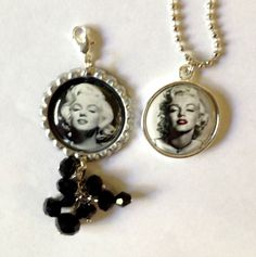 Set of Marilyn Monore Bottle Cap Zipper Pull and Bottle Cap Necklace