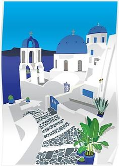 I just love looking at the beautiful images from Santorini. It is a bucket list vacation for sure! A blue and white paradise! House Illustration, Travel Illustration, Digital Illustration, Greece Painting, Guache, Vintage Travel Posters, Canvas Art Prints, Framed Canvas, Framed Prints