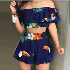 Tropical Print Top & Shorts Set - Lilly is Love Girls Fashion Clothes, Teen Fashion Outfits, Girly Outfits, Outfits For Teens, Pretty Outfits, Girl Fashion, Cute Summer Outfits, Cute Casual Outfits, Stylish Outfits