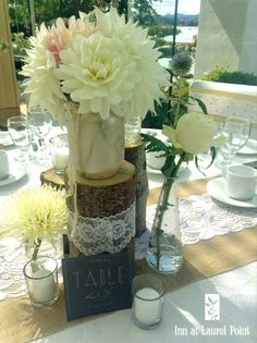 burlap lace wedding decor with dahlia floral centerpieces