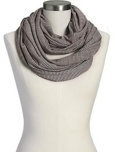 Black-and-White Striped Jersey Infinity Scarf