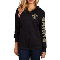 Women's New Orleans Saints Black Extra Point 2 Hit Full-Zip Hoodie