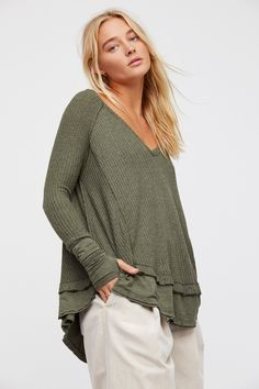 We The Free Laguna Thermal | So-soft drippy V-neck thermal in an effortlessly slouchy and swingy silhouette.  * Unfinished edges * Rounded hem * Contrast solid trim detailing on the sleeves and hem
