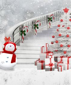 winter photography background snowman backdrops long stair christmas tree photo backdrop for kids photos