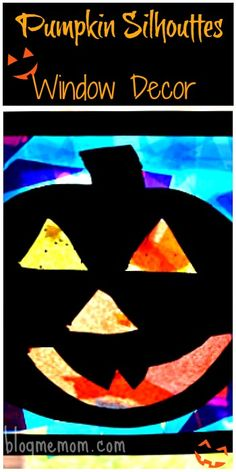 Pumpkin Silhouttes: Kid made Halloween window decor. Fun and easy craft for kids. #halloweencrafts