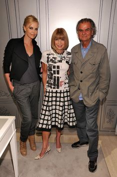 Actress Charlize Theron, Editor-in-Chief of Vogue Anna Wintour and photographer Patrick Demarchelier attend the Dior celebration of Fashion's Night Out at Christian Dior Madison Avenue Boutique on September 10, 2010 in New York City.