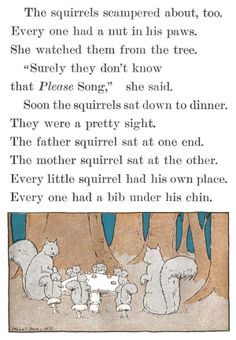 Soon the squirrels sat down to dinner - Little Girl Blue by Emma Miller Bolenius, 1930