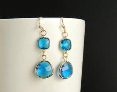 Blue Sapphire Drop Earrings. Gold Framed by SimpleElegantJewelry, $22.00