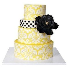 Wedding Cakes Pictures Yellow Damask Wedding Cakes I D Want Black Replaceing The White And The Second Layer To Be All White With A Yellow Ribbon And