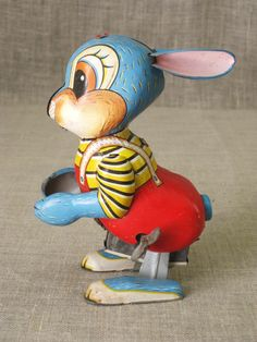 Vintage Japan Tin Toy Rabbit - Delightful for sure, this is one charming Vintage Tin Toy Rabbit marked Japan. This piece is in overall excellent