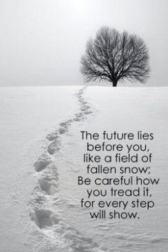 The future lies before you like a field of fallen snow; Be careful how you tread it for every step will show.